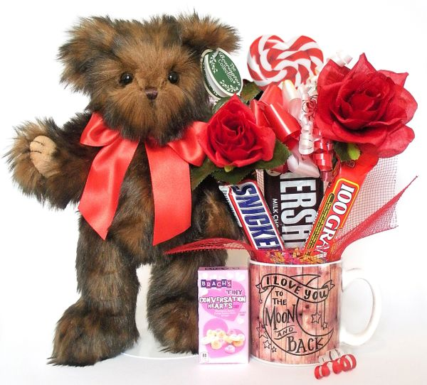 Valentine's Day, Anniversary, Love Candy Bear Bouquet Heartford w/ Love You To The Moon And Back Ceramic Mug