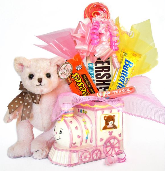 Baby Girl Candy Bear Bouquet Dottie Bear w/ Ceramic Baby Train