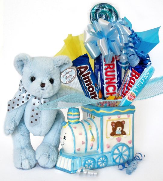 Baby Boy Candy Bear Bouquet Polky Bear w/ Ceramic Baby Train
