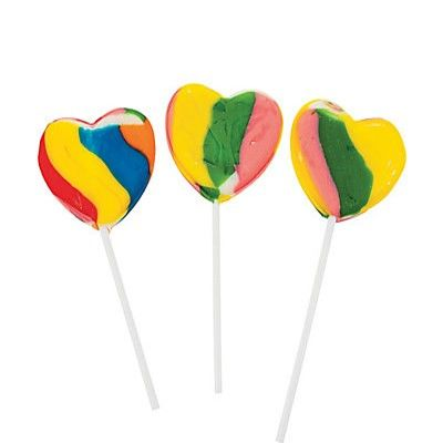 Heart Shaped Lollipop - Rainbow - ADD TO CANDY BEAR BOUQUET