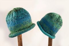 Child Adult Hat Rolled Brim Beanie Color: OCEANA