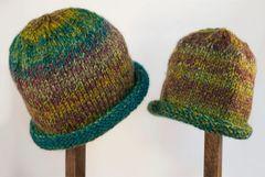 Child Adult Hat Rolled Brim Beanie Color: RAINFOREST