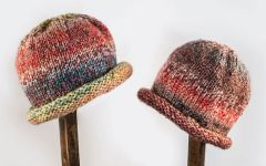 Child Adult Hat Rolled Brim Beanie Color: TROPICAL PEACH