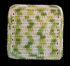 100% Cotton Hand Crocheted Dishcloth Washcloth Rag Color: KEY LIME