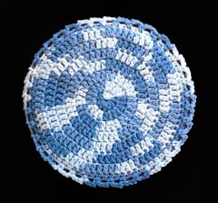 100% Cotton Hand Crocheted Round Pot Holder Hot Pad Doily Trivet Color: FADED DENIM