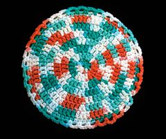 100% Cotton Hand Crocheted Round Pot Holder Hot Pad Doily Trivet Color: AHOY