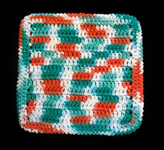 100% Cotton Hand Crocheted Square Pot Holder Hot Pad Doily Trivet Color: AHOY
