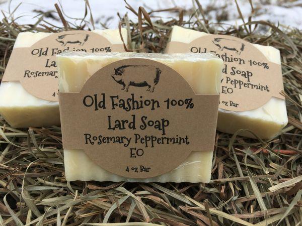 Lard & Goat Milk soap~~Rosemary Peppermint Essential oil