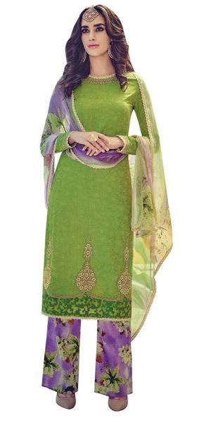 Designer Green Embroidered Pashmina Winter Dress Material with Chiffon Dupatta