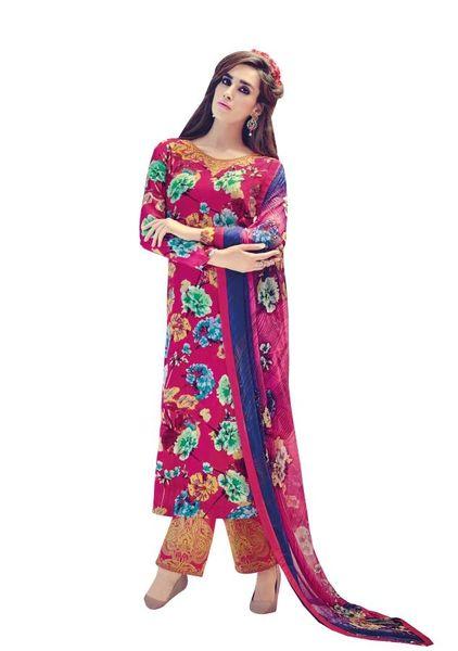 Designer Pink Embroidered Pashmina Winter Dress Material with Chiffon Dupatta