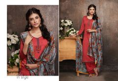 Designer Red Pashmina Winter Dress Material with Printed Chanderi Dupatta