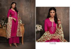Designer Pink Pashmina Winter Dress Material with Printed Chanderi Dupatta