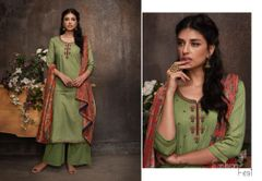Designer Green Pashmina Winter Dress Material with Printed Chanderi Dupatta