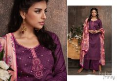 Designer Purple Pashmina Winter Dress Material with Printed Chanderi Dupatta