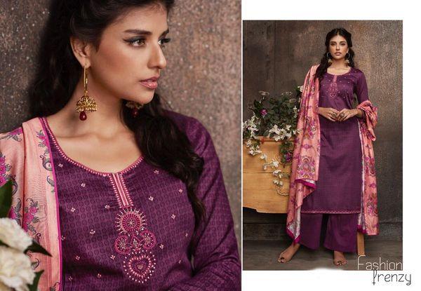 Designer Purple Pashmina Winter Dress Material with Printed Chanderi Dupatta