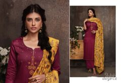 Designer Maroon Pashmina Winter Dress Material with Printed Chanderi Dupatta