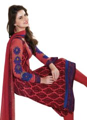 Orangish Red Winter Pashmina Embroidered Dress Material