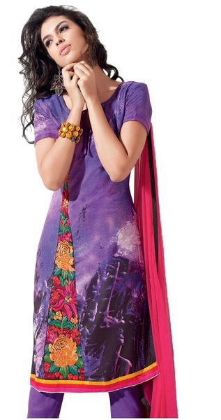 Purple Pashmina Winter Embroidered Dress Material
