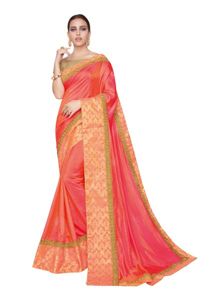 Designer Two Tone Peach Silk Border Saree with Blouse and Jacket