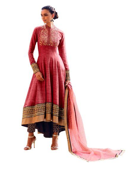 Designer Semi Stitched Reddish Fusion Style Khadi Dress Material