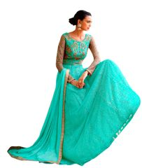 Designer Semi Stitched Sea Green Fusion Style Net Dress Material
