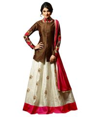 Designer Brown Off White Semi Stitched German Silk Lehenga Suit Dress Material