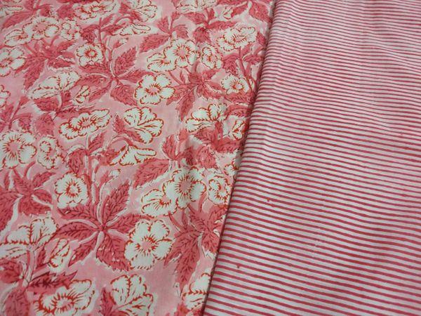Exclusive Block Printed Kurta Palazo Pant Floral Striped Fabric Only BP34