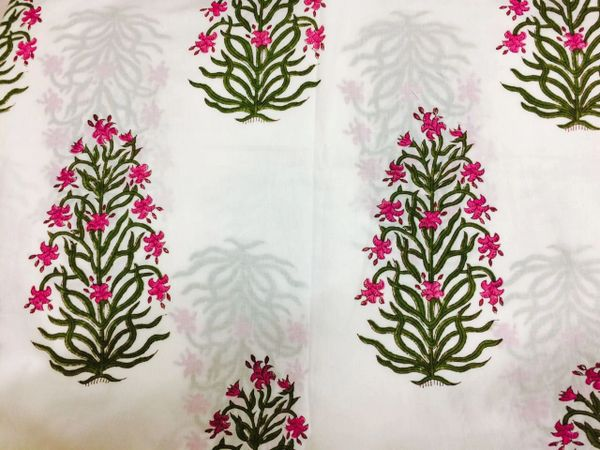 Exclusive Mughal Butta Block Printed Fabric Precut 2.5 meter Material Only BP42S