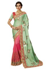 Exclusive Green Silk Embroidered Saree with designer blouse fabric SC4095