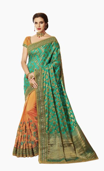 Exclusive Green Silk Embroidered Saree with designer blouse fabric SC4103