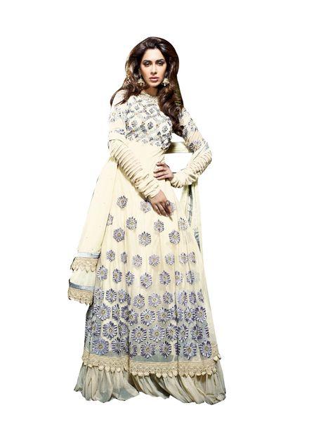 Designer Semi Stitched Cream Georgette Long Anarkali Dress Material SC2606