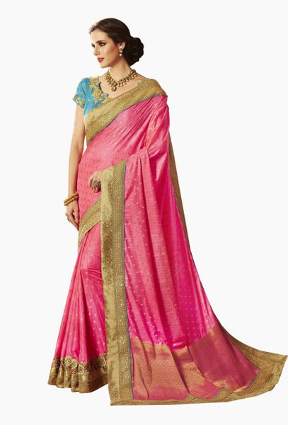 Exclusive Pink Silk Embroidered Saree with designer blouse fabric SC4104