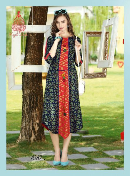 Designer Blue Cotton Printed Long Kurti Kurta Dress Style Size 42 XL SC1010