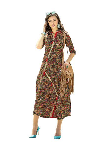 Designer Multi Cotton Printed Long Kurti Kurta Dress Style Size 42 XL SC1011
