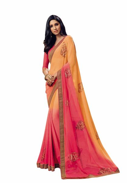 Orange Pink Georgette Lacer Border Saree SC1116