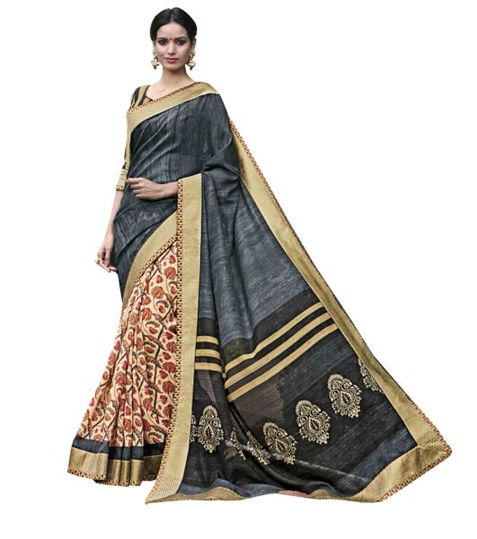 Designer Grey Cream Printed Lacer Border Art Silk Saree SC30339