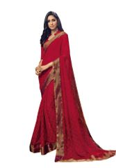 Maroon Georgette Lacer Border Saree SC1908