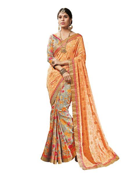 Orange Gray Art Silk Brasso Saree SC19922