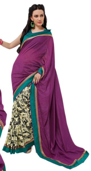 Designer Bhagalpuri Cotton Silk Printed and Lacer Border Saree SC1610