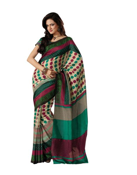 Cream Multi Bhagalpuri Cotton Silk Saree SC7222