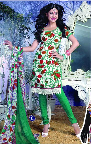 Spun Cotton Cream & Green Lacer Salwar Kameez Churidar Dress Meterial SC 1058C