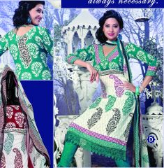 Spun Cotton Offwhite Green Lacer Salwar Kameez Churidar Dress Meterial SC 1061D