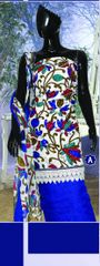 Spun Cotton Cream & Blue Lacer Salwar Kameez Churidar Dress Meterial SC 1058A