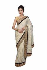 Designer Cream Khaddi Style Jequard Crepe saree with Heavy Border SP16