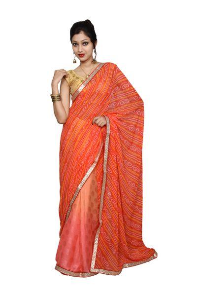 Designer Carrot Pink Printed Bandhej Embellished Saree SP15