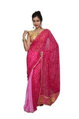 Designer Pink Bandhej Shibori Georgette Saree SP12