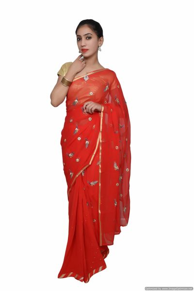 Designer Red Chiffon Georgette Peacock Motif Saree SP07