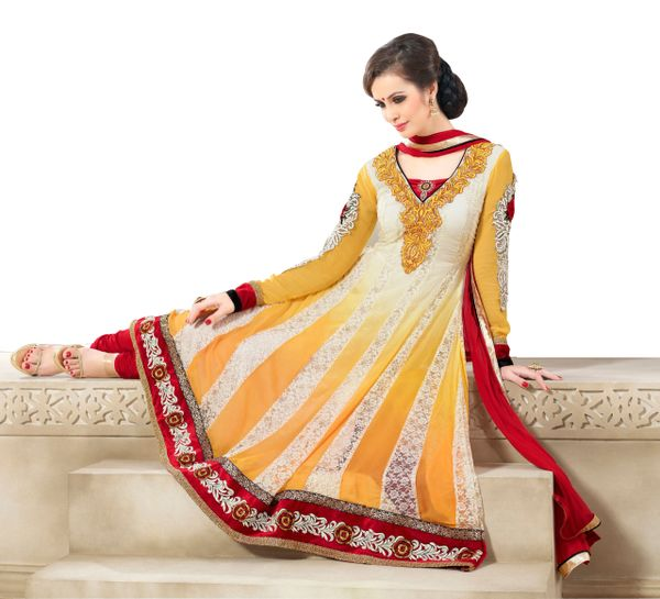 Yellow Faux Georgette and Jacquard Net Semi Stitched Anarkali Dress Material SC2010