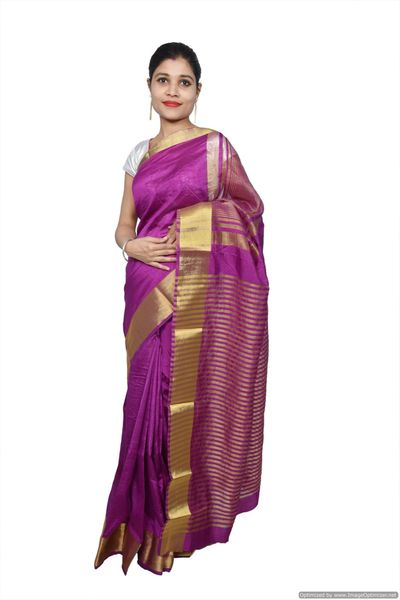 Purple Banglore Silk Saree with Running Blouse Fabric BGS09