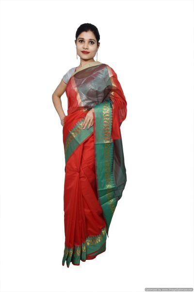 Red Banarsi Cotton Silk Saree with Running Blouse Fabric BS35